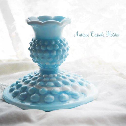 USA アンティーク フェントン ミルクグラス  ブルー&ホワイトマーブル ホブネイル キャンドルホルダー【画像2】