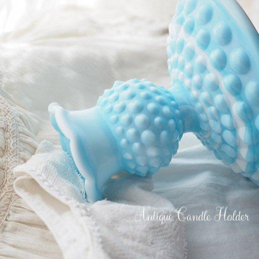 USA アンティーク フェントン ミルクグラス  ブルー&ホワイトマーブル ホブネイル キャンドルホルダー【画像3】