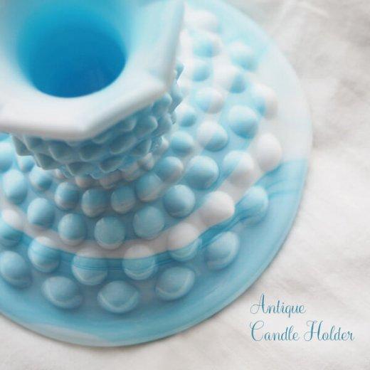 USA アンティーク フェントン ミルクグラス  ブルー&ホワイトマーブル ホブネイル キャンドルホルダー【画像4】