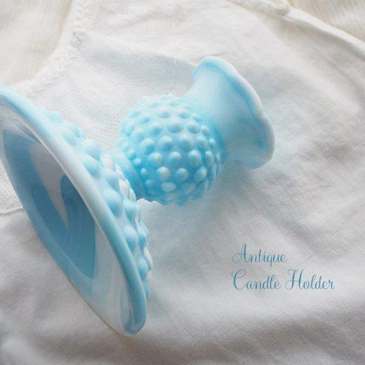 USA アンティーク フェントン ミルクグラス  ブルー&ホワイトマーブル ホブネイル キャンドルホルダー【画像5】