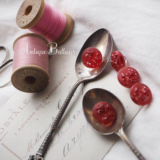 ドイツ ヴィンテージ ローズ 薔薇 ガラスボタン  5個セット【画像4】