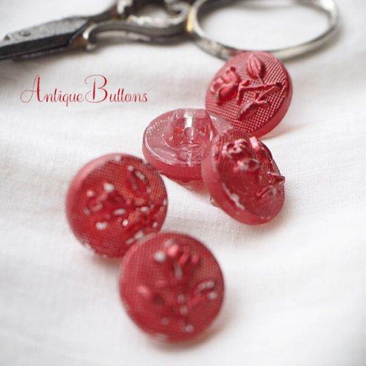 ドイツ ヴィンテージ ローズ 薔薇 ガラスボタン  5個セット【画像7】