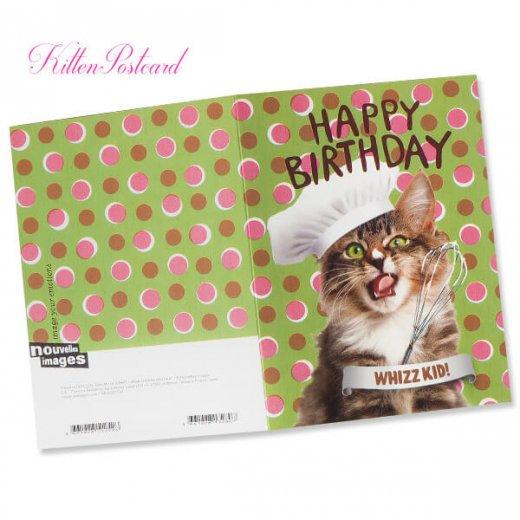フランス 二つ折り バースデーカード 【封筒付き】 猫 キャット(パティシエ)【画像2】