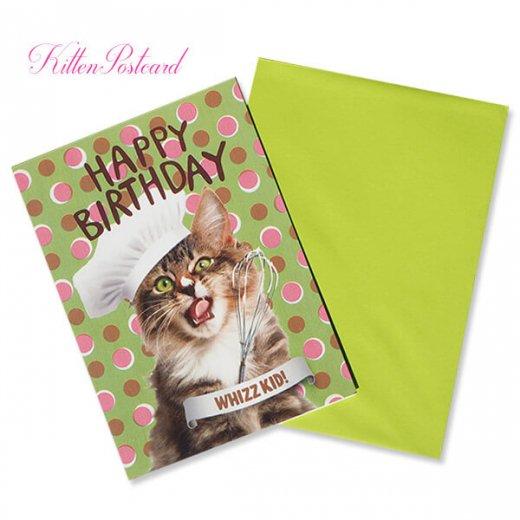 フランス 二つ折り バースデーカード 【封筒付き】 猫 キャット(パティシエ)【画像3】
