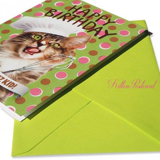 フランス 二つ折り バースデーカード 【封筒付き】 猫 キャット(パティシエ)【画像4】