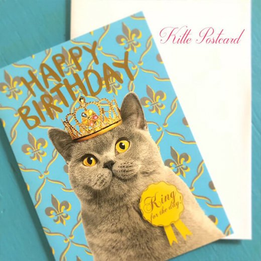 フランス 二つ折り バースデーカード 【封筒付き】 猫 キャット(王さま)【画像5】
