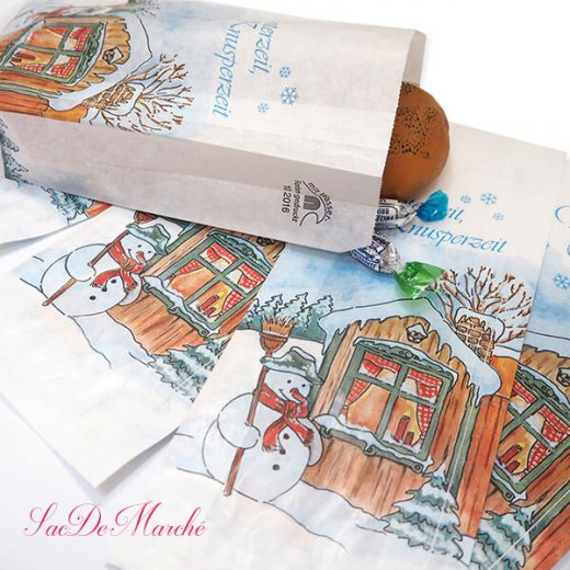 マルシェ袋 ドイツ 海外市場の紙袋(雪だるまB)5枚セット【画像2】