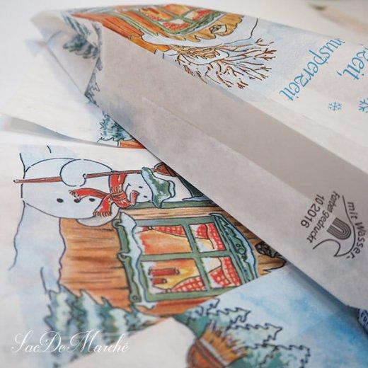 マルシェ袋 ドイツ 海外市場の紙袋(雪だるまB)5枚セット【画像3】