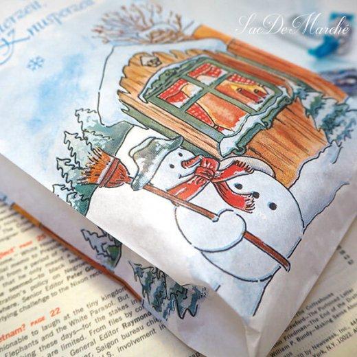 マルシェ袋 ドイツ 海外市場の紙袋(雪だるまB)5枚セット【画像6】