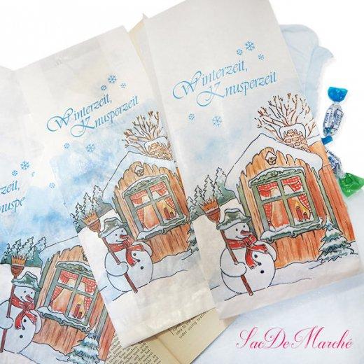 マルシェ袋 ドイツ 海外市場の紙袋(雪だるまB)5枚セット【画像7】