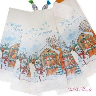 マルシェ袋 ドイツ 海外市場の紙袋(雪だるまB)5枚セット