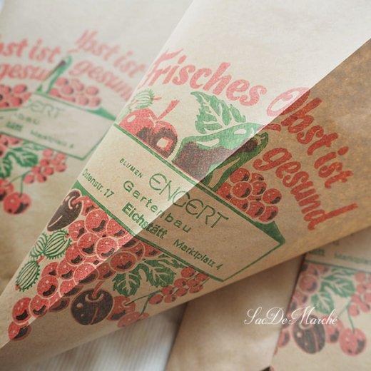 マルシェ袋 ドイツ 海外市場の紙袋 三角(フルーツB)5枚セット