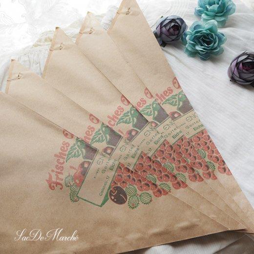マルシェ袋 ドイツ 海外市場の紙袋 三角(フルーツB)5枚セット【画像4】