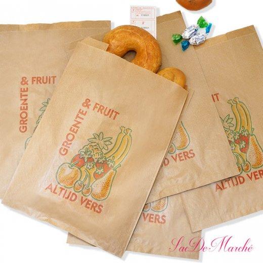 マルシェ袋 オランダ 海外市場の紙袋 Lサイズ (野菜とフルーツ)5枚セット