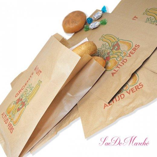 マルシェ袋 オランダ 海外市場の紙袋 Lサイズ (野菜とフルーツ)5枚セット【画像3】