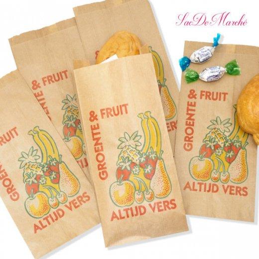 マルシェ袋 オランダ 海外市場の紙袋 Mサイズ (野菜とフルーツ)5枚セット