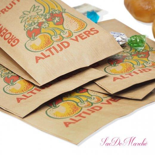 マルシェ袋 オランダ 海外市場の紙袋 Mサイズ (野菜とフルーツ)5枚セット【画像4】