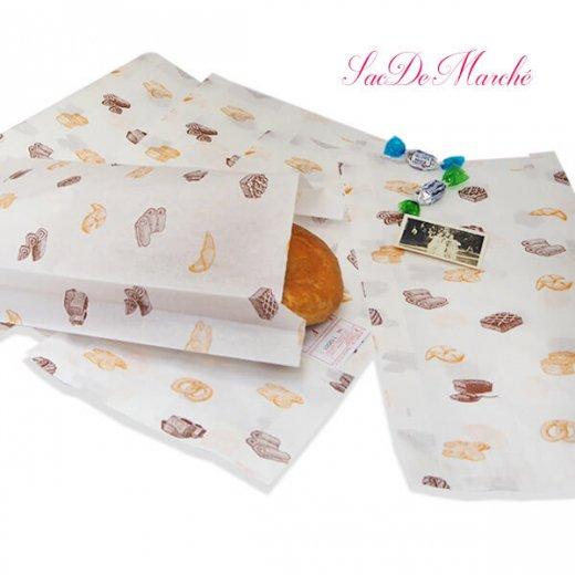 マルシェ袋 ハンガリー 海外市場の紙袋 Lサイズ (ブレッド スイーツ)5枚セット【画像3】