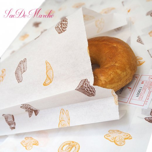 マルシェ袋 ハンガリー 海外市場の紙袋 Lサイズ (ブレッド スイーツ)5枚セット【画像4】