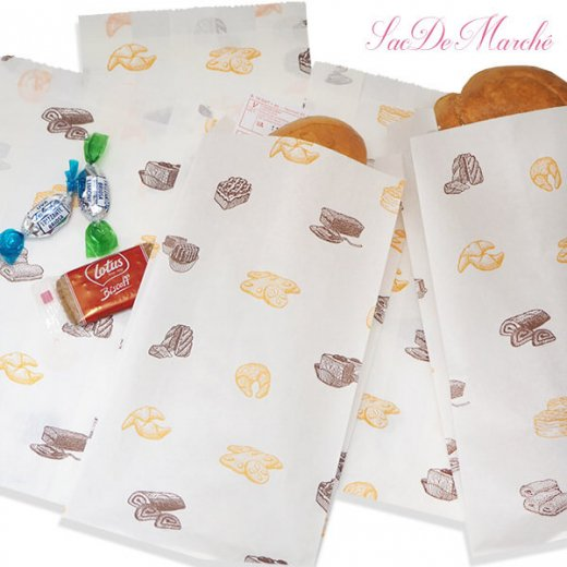 マルシェ袋 ハンガリー 海外市場の紙袋 Mサイズ (ブレッド スイーツ)5枚セット