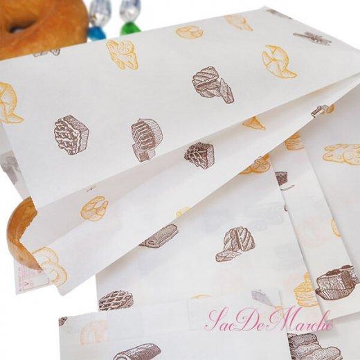 マルシェ袋 ハンガリー 海外市場の紙袋 Mサイズ (ブレッド スイーツ)5枚セット【画像2】