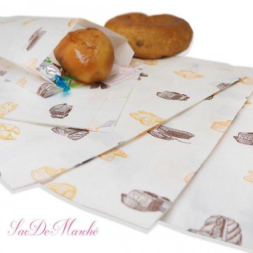 マルシェ袋 ハンガリー 海外市場の紙袋 Mサイズ (ブレッド スイーツ)5枚セット【画像3】