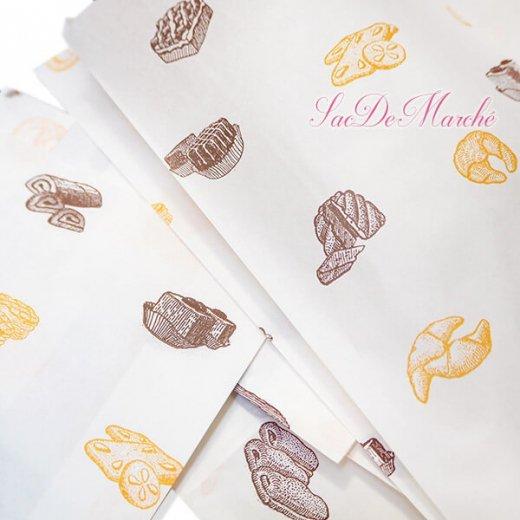 マルシェ袋 ハンガリー 海外市場の紙袋 Mサイズ (ブレッド スイーツ)5枚セット【画像4】