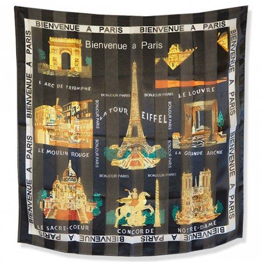 フランス直輸入!スーベニア スカーフ 【Noir】エッフェル塔 凱旋門 ノートルダム大聖堂 サクレ・クール寺院