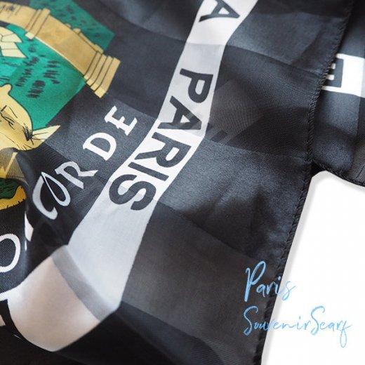 フランス直輸入!スーベニア スカーフ 【Noir】エッフェル塔 凱旋門 ノートルダム大聖堂 サクレ・クール寺院【画像4】
