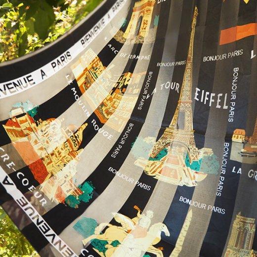 フランス直輸入!スーベニア スカーフ 【Noir】エッフェル塔 凱旋門 ノートルダム大聖堂 サクレ・クール寺院【画像5】