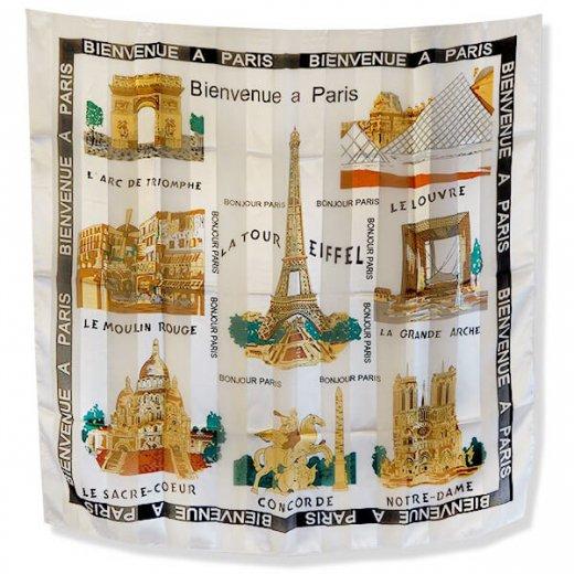 フランス直輸入!スーベニア スカーフ 【Blanc】エッフェル塔 凱旋門 ノートルダム大聖堂 サクレ・クール寺院
