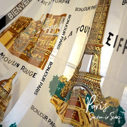 フランス直輸入!スーベニア スカーフ 【Blanc】エッフェル塔 凱旋門 ノートルダム大聖堂 サクレ・クール寺院【画像2】