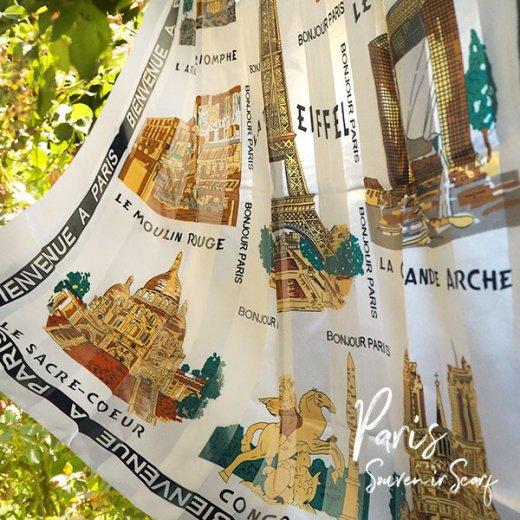 フランス直輸入!スーベニア スカーフ 【Blanc】エッフェル塔 凱旋門 ノートルダム大聖堂 サクレ・クール寺院【画像5】