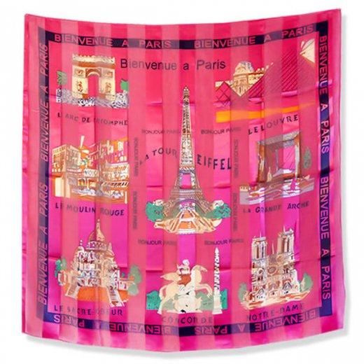 フランス直輸入!スーベニア スカーフ 【Rose】エッフェル塔 凱旋門 ノートルダム大聖堂 サクレ・クール寺院