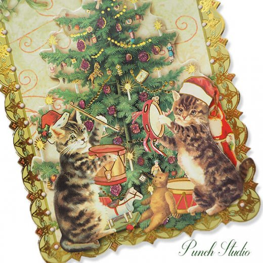 PUNCHSTUDIO クリスマス グリーティングカード ダイカット 【ツリー・猫】【画像2】