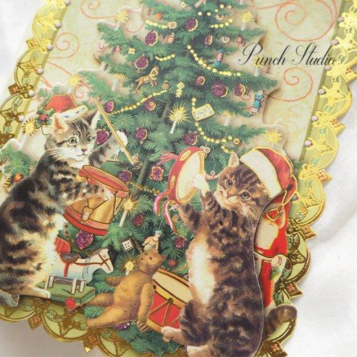 PUNCHSTUDIO クリスマス グリーティングカード ダイカット 【ツリー・猫】【画像5】