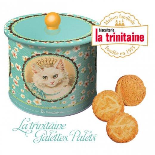 フランス製 ラ・トリニテーヌ ビスケット 猫・キャット柄 TIN缶【ラウンドタイプ】