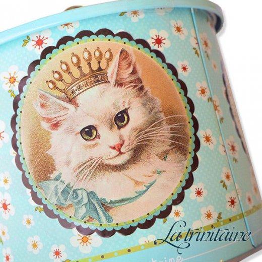 フランス製 ラ・トリニテーヌ ビスケット 猫・キャット柄 TIN缶【ラウンドタイプ】【画像3】