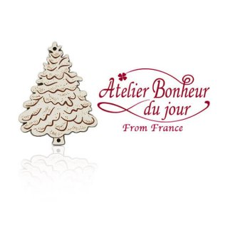 フランス輸入ボタン アトリエ・ボヌール・ドゥ・ジュール【クリスマス・ホワイトツリー】
