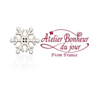 フランス輸入ボタン アトリエ・ボヌール・ドゥ・ジュール【クリスマス・雪の結晶】