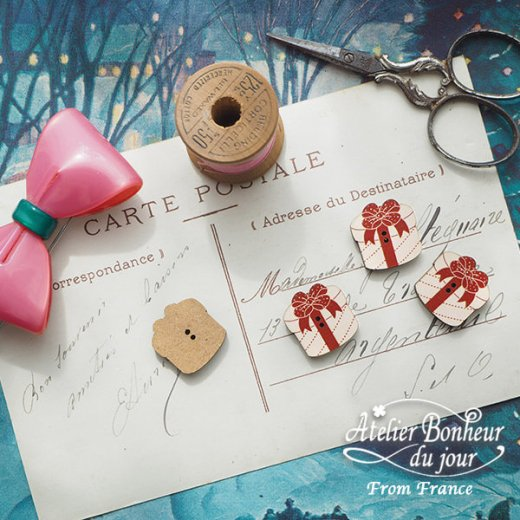 フランス輸入ボタン アトリエ・ボヌール・ドゥ・ジュール【クリスマス・プレゼントラウンド】【画像5】