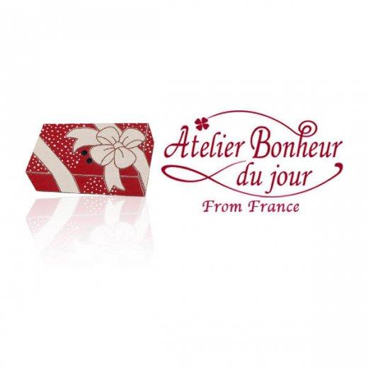 フランス輸入ボタン アトリエ・ボヌール・ドゥ・ジュール【クリスマス・プレゼント長方形】