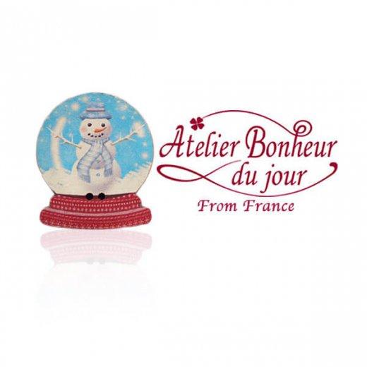 フランス輸入ボタン アトリエ・ボヌール・ドゥ・ジュール【クリスマス・スノードーム雪だるま】