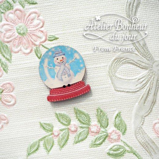 フランス輸入ボタン アトリエ・ボヌール・ドゥ・ジュール【クリスマス・スノードーム雪だるま】【画像5】