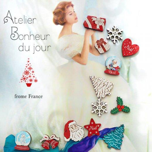 フランス輸入ボタン アトリエ・ボヌール・ドゥ・ジュール【クリスマス・スノードーム雪だるま】【画像7】