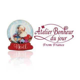 フランス輸入ボタン アトリエ・ボヌール・ドゥ・ジュール【クリスマス・スノードームサンタ】