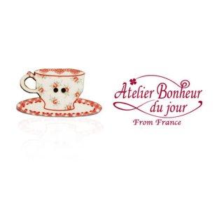 アトリエボヌールドゥジュール フランス輸入ボタン アトリエ・ボヌール・ドゥ・ジュール【花柄 カップ・ソーサー red】