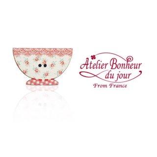 輸入ボタン アトリエ・ボヌール フランス輸入ボタン アトリエ・ボヌール・ドゥ・ジュール【花柄 カフェオレ・ボウル red】