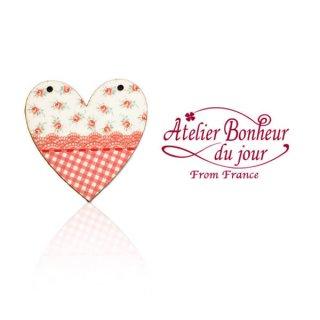 輸入ボタン アトリエ・ボヌール フランス輸入ボタン アトリエ・ボヌール・ドゥ・ジュール【花柄 ハート red】
