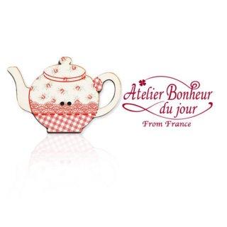 アトリエボヌールドゥジュール フランス輸入ボタン アトリエ・ボヌール・ドゥ・ジュール【花柄 ポット red】